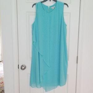 Sz 22 turquoise sleeveless dress gold zipper